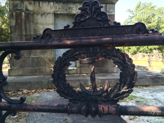 The wrought iron fencing that surround the Barron mausoleum features anchors, which often mean hope or eternal life.