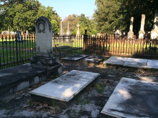 The DeLagile family plot at Magnolia Cemetery. To the far right is the marker for brothers Armand and Henry DeLaigle, sons of Charles DeLaigle. Armand served in the Confederacy, dying at the Battle of Savage Station in Virginia in 1862.