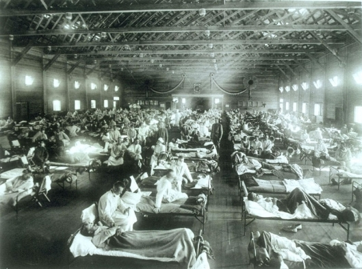 Photo of one of the influenza wards at Camp Funston in Fort Riley, Kans. Did Charles Tharp bring it home to his wife?
