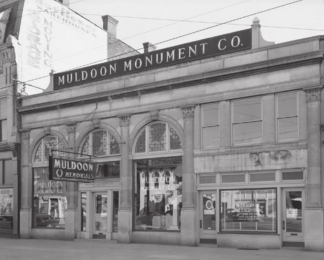 "A 1951 photo of the Muldoon Monument Co. when it was located in the Smoketown-Jackson business district in Louisville. Photo source: ""Louisville's Historic Black Neighborhoods"" by Beatrice S. Brown."