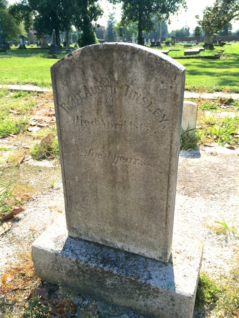 Records show that orphan Robert Austin Tinsley died at the age of four in 1865 of consumption (known now as tuberculosis).