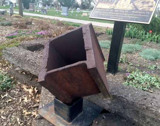 Greenwood's 911 memorial features an actual piece of metal taken from the World Trade Center disaster.