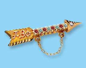 The arrow badge of I.C. Sorosis, the predecessor of the Phi Beta Phi women's fraternity. At the 1934 Yellowstone Convention, members voted to limit the links in the chain of the badge to 12 — one for each founder.