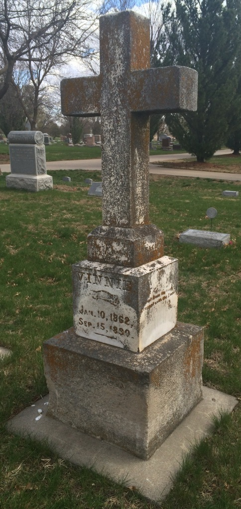 Vinnie Harrison Cowell's monument could use some TLC. But the small arrow above her name is what got my attention.